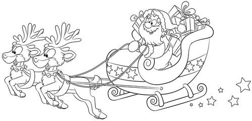 Weihnachtsmann im Schlitten mit Rentieren -  Vektor-Illustration