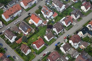 Luftaufnahme eines Wohnviertels in Friedrichshafen am Bodensee