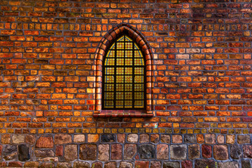 Stained glass window in a church wall