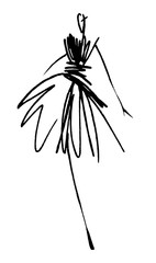 Fashion girl sketch hand drawn , stylized silhouettes isolated. Vector fashion illustration.