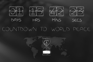 countdown to world peace timer and hourglass with symbol inside and world map overlay