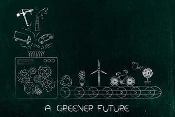machine with funnel processing polluting elements into green economy resources