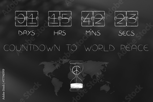 countdown to world peace timer and hourglass with symbol inside and