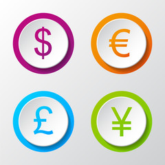 Collection of 3d icons of different currencies. Vector.