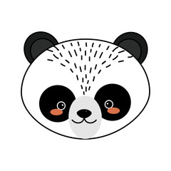 cute panda head wild animal