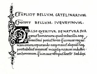 Humanist minuscule (Bellum Catelinarium Salustii, 1466) (from Meyers Lexikon, 1896, 13/420/421)