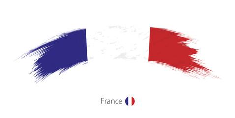 Flag of France in rounded grunge brush stroke.