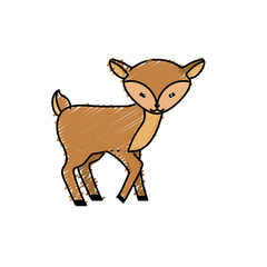 cute deer wild animal icon