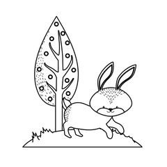line cute rabbit wild animal next to tree