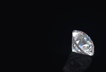3d rendering. luxury gemstone diamond on black background
