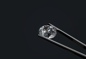 3d rendering. luxury diamond tonged bu steel stick for check or test with dark background