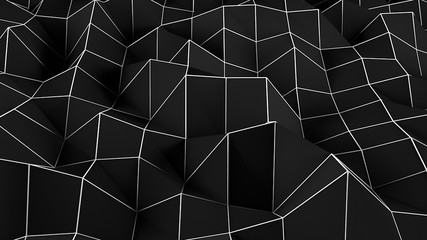Black abstract polygonal background. Digital illustration. 3d rendering