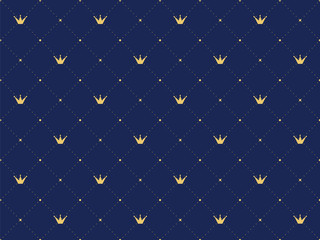 Navy blue seamless pattern in retro style with a gold crown. Can be use for premium royal designs.