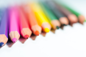 Colorful pencils close up shot.