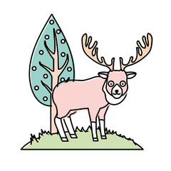 cute elk wild animal next to tree