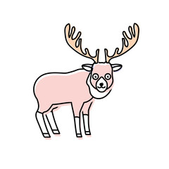 cute elk wild animal icon