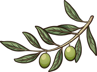Olive branch with detachable olive. Vector clip art illustration with simple gradients. Branch and olive in separate layers.