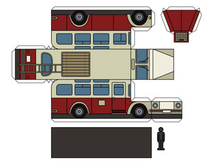 Paper model of a vintage red bus
