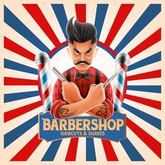 barber shop vintage graphic
