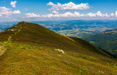 path through mountain ridge in high altitude. beautiful scenery in fine summer weather