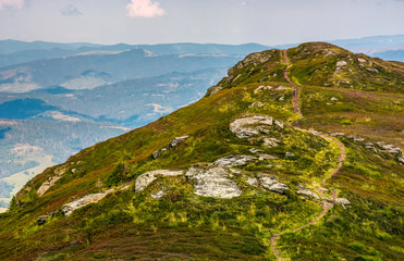 path through mountain ridge in high altitude. beautiful scenery in fine summer weather