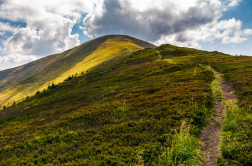 path uphill the mountain ridge. beautiful scenery in fine summer weather