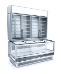 Refrigerated showcase for the halls of supermarkets. 3d image isolated on white.