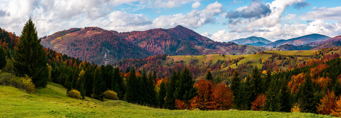 beautiful panorama of mountainous rural area. gorgeous Carpathian autumn landscape