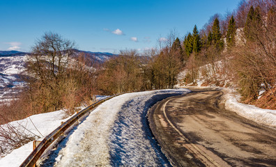 winding serpentine in winter. lovely transportation scenery in mountains