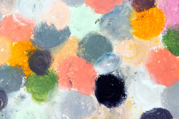 Photo of colorful oil pastels drawing texture for background.