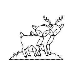 dotted shape cute deer animal couple together