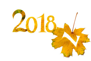 2018. digits carved from yellow maple leaves on white background