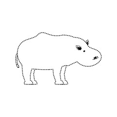 flat line  uncolored hippopotamus sticker over white background  vector illustration