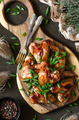 Wings in the glaze made of honey and soy sauce
