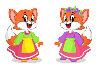 Cute little fox in a dress and with floral wreath