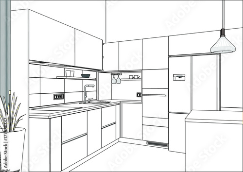 3D Vector Sketch. Modern Kitchen Design In Home Interior. Kitchen Sketch.