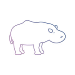 flat line colored  hippopotamus over white backgroun vector illustration