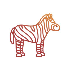 flat line colored zebra  over white background  vector illustration