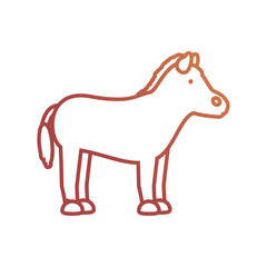flat line colored  horse  over white background  vector illustration