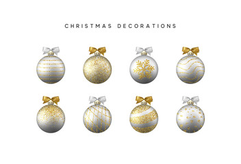 Xmas set balls silver and gold color. Christmas bauble decoration elements