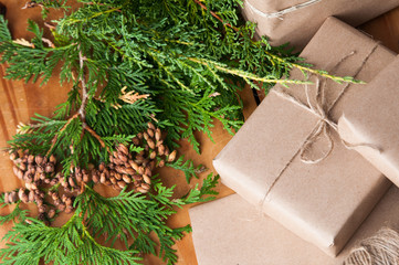 packages wrapped in brown papper and tied with string for Christmas
