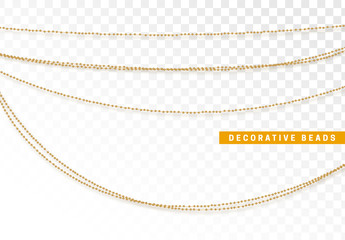 String beads realistic isolated. Decorative design element golden bead