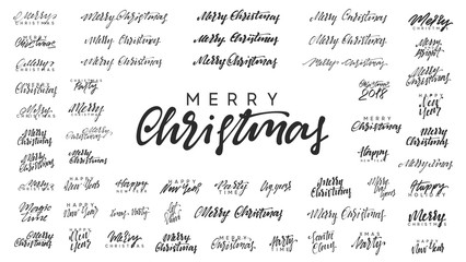 Merry Christmas and Happy New Year, black text calligraphy
