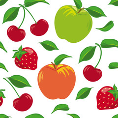 Seamless pattern with a fruit set of apples, cherries and strawberries