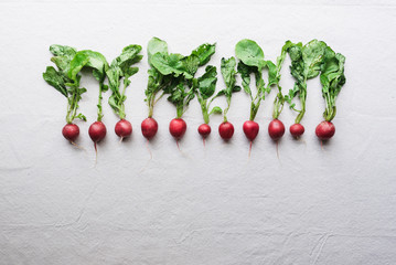 Row of radishes against white background.