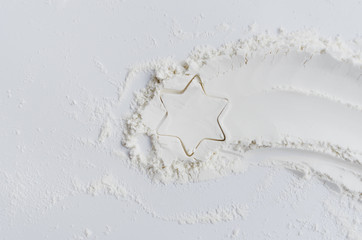 White flour Christmas star comet