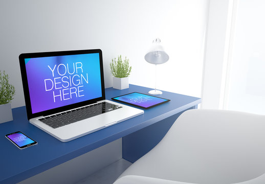 3D Rendering of Office with Laptop, Tablet and Smartphone Mockup