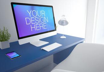 3D Rendering of Office with Desktop Computer and Smartphone Mockup