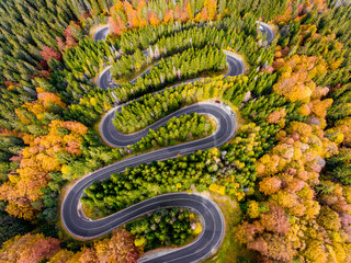 Aerial View of a Winding Road in the Mountains in Autumn