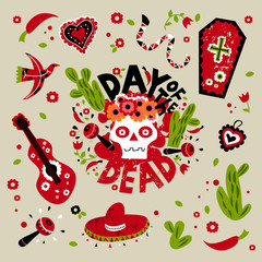 Vector illustration and lettering set of Day of the dead for poster, card or invitation